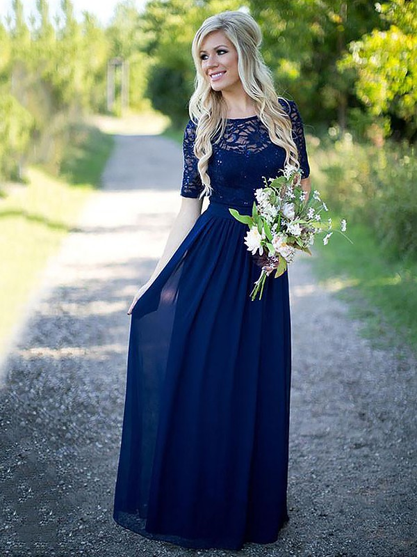 A-Line/Princess Scoop 1/2 Sleeves Floor-Length Chiffon Bridesmaid Dresses