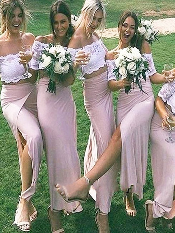 Jersey Sheath/Column Off-the-Shoulder Floor-Length Short Sleeves Bridesmaid Dresses