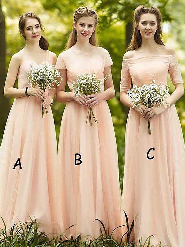 A-Line/Princess Sleeveless Chiffon Floor-Length Bridesmaid Dresses
