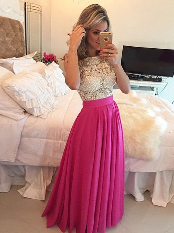 Sleeveless A-Line/Princess Scoop Lace Floor-Length Chiffon Dresses
