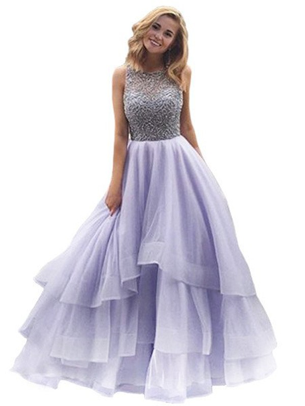 Ball Gown Scoop Floor-Length Sleeveless Beading Organza Dresses