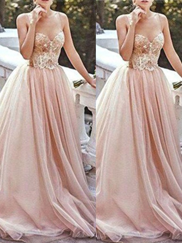 Sweetheart A-Line/Princess Sleeveless Sweep/Brush Train Beading Tulle Dresses
