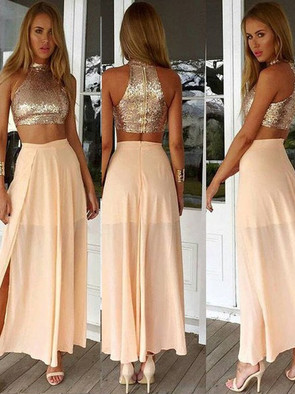 A-Line/Princess Sleeveless High Neck Sequin Chiffon Ankle-Length Dresses