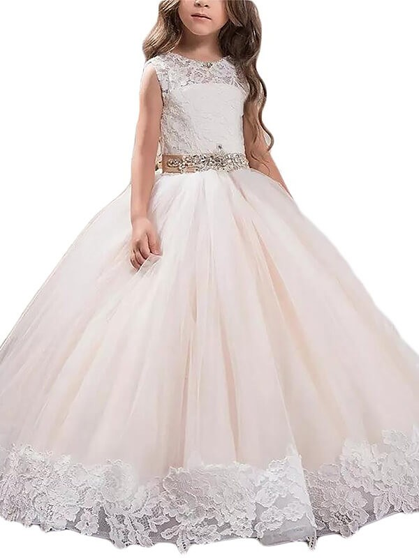 Ball Gown Lace Scoop Floor-Length Sleeveless Tulle Flower Girl Dresses