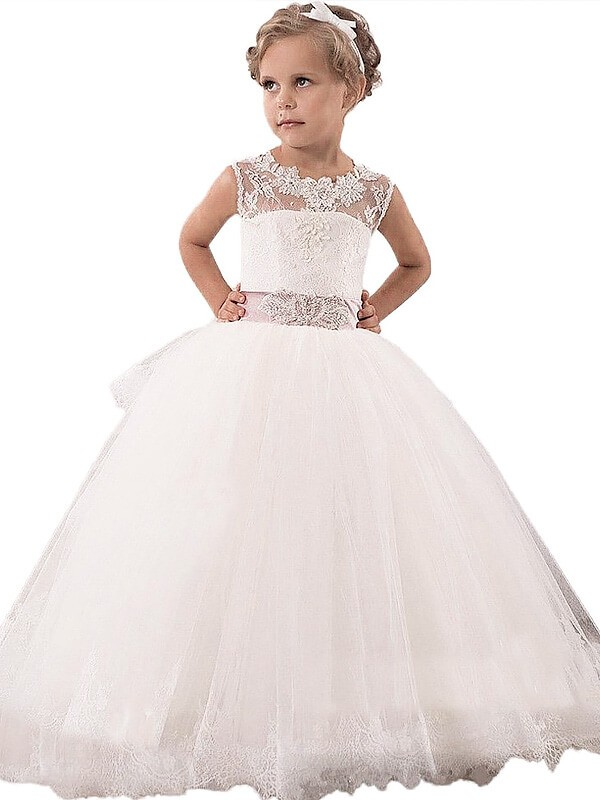 Ball Gown Sleeveless Scoop Lace Floor-Length Tulle Flower Girl Dresses