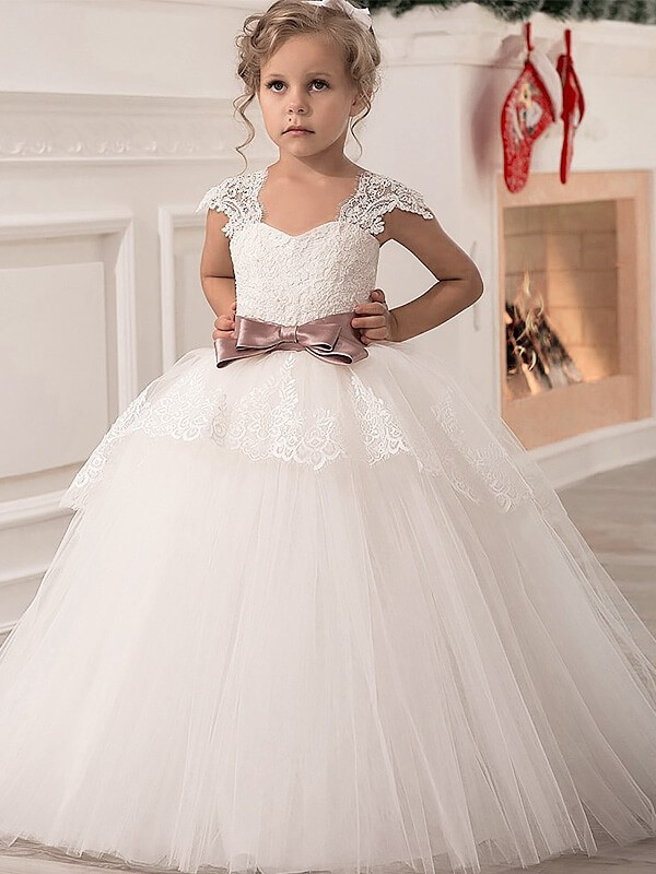 Ball Gown Straps Sleeveless Sash/Ribbon/Belt Tulle Floor-Length Flower Girl Dresses