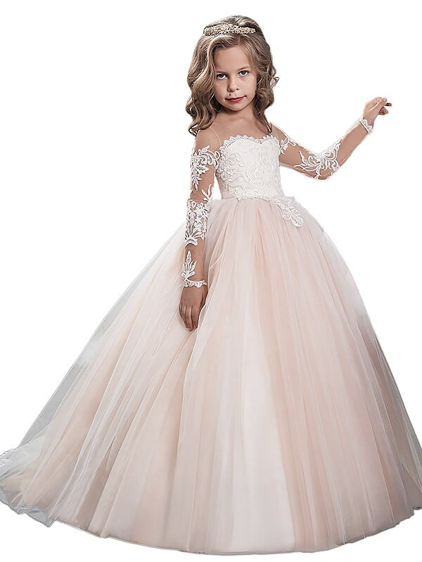 Ball Gown Long Sleeves Scoop Sweep/Brush Train Tulle Flower Girl Dresses