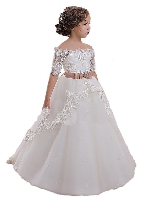 Ball Gown Short Sleeves Off-the-Shoulder Sash/Ribbon/Belt Tulle Flower Girl Dresses