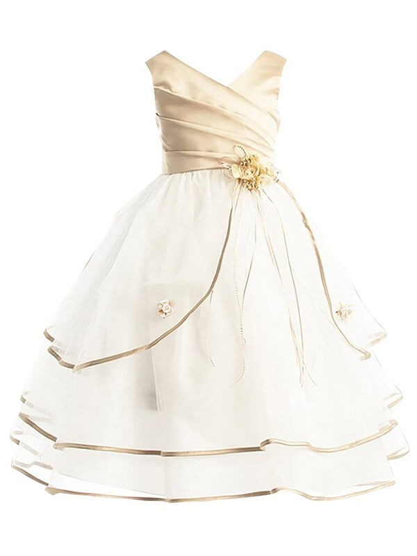 A-line/Princess V-neck Sleeveless Ankle-Length Tulle Flower Girl Dresses