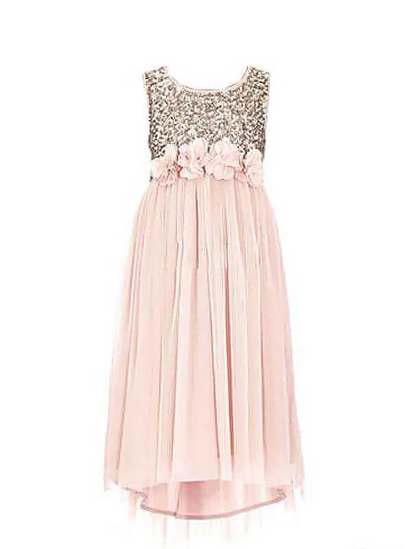 A-line/Princess Scoop Sleeveless Sequin Floor-Length Chiffon Flower Girl Dresses