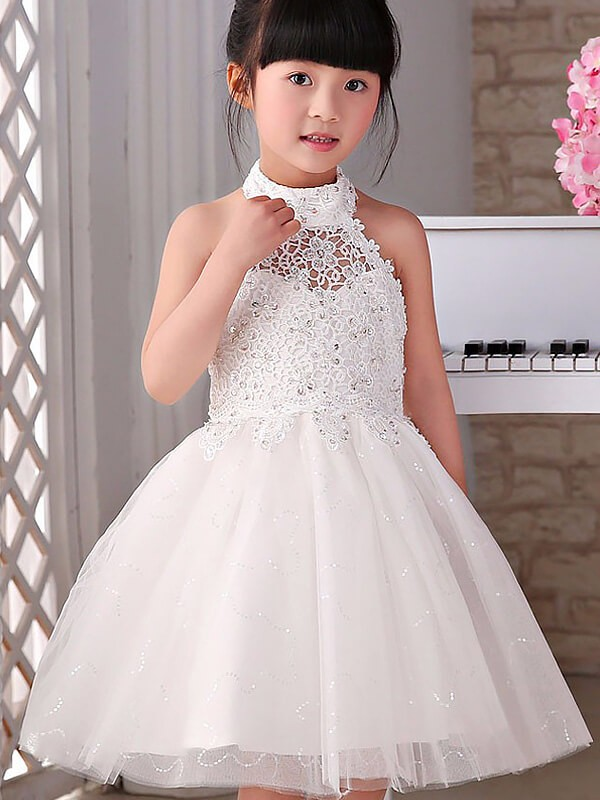 A-line/Princess Sleeveless Halter Beading Tulle Knee-Length Flower Girl Dresses