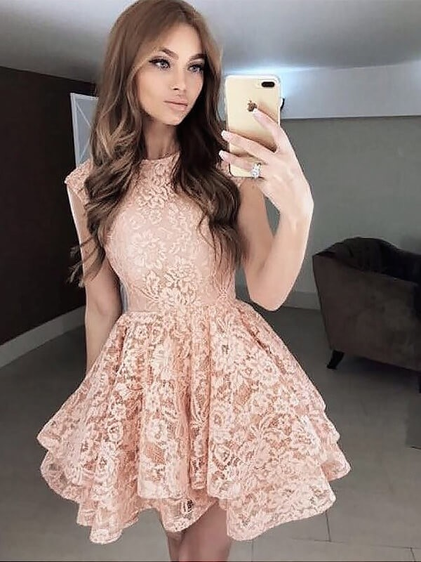 A-Line/Princess Scoop Sleeveless Lace Short/Mini Dresses