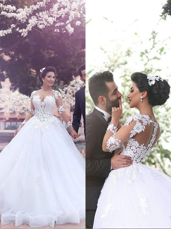 Ball Gown Sweetheart Court Train Long Sleeves Tulle Wedding Dresses