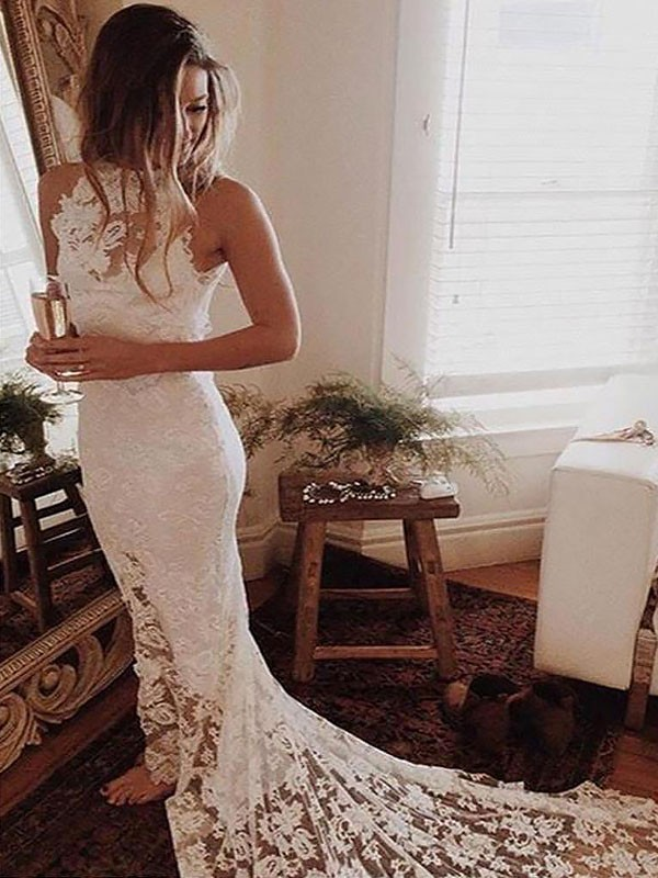 Trumpet/Mermaid Sleeveless Lace Chapel Train Halter Wedding Dresses
