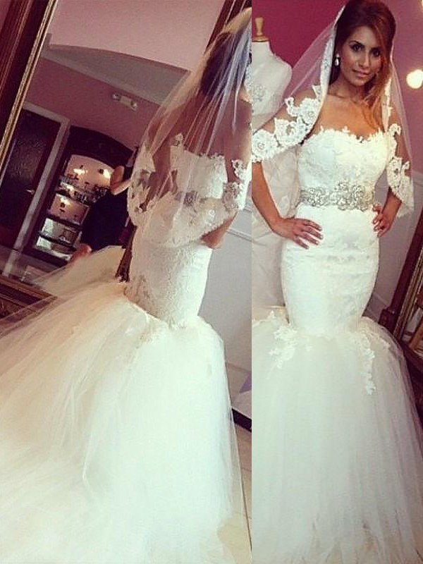 Trumpet/Mermaid Sweetheart Lace Tulle Sleeveless Court Train Wedding Dresses