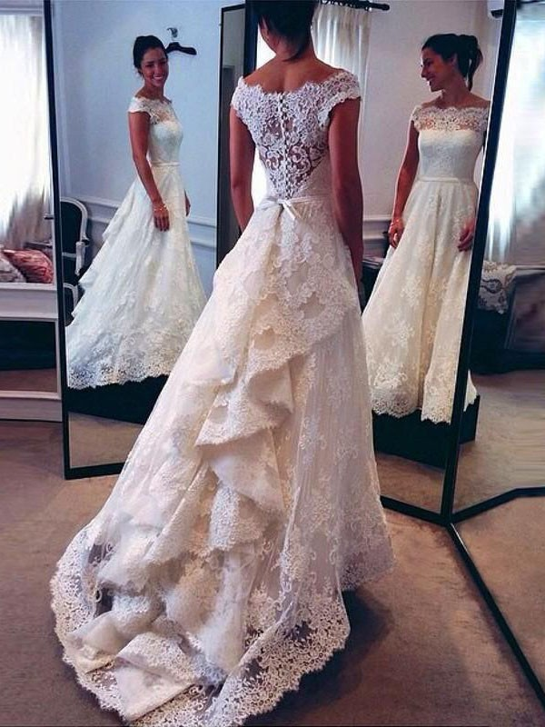 A-Line/Princess Lace Scoop Sweep/Brush Train Sleeveless Wedding Dresses