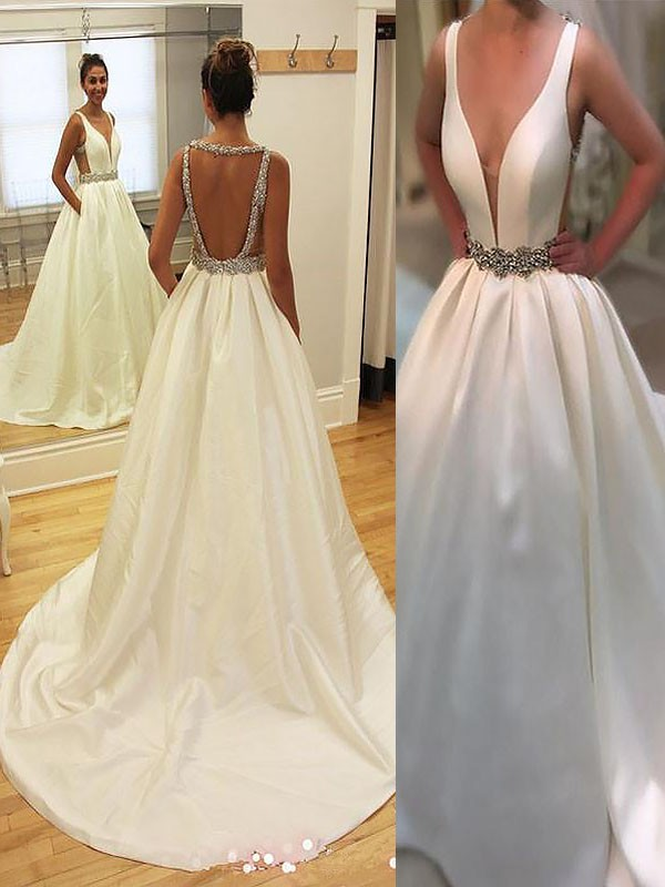 A-Line/Princess V-neck Sleeveless Court Train Satin Wedding Dresses