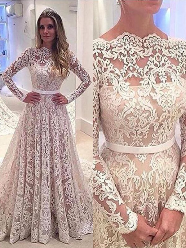 A-Line/Princess Long Sleeves Lace Court Train Bateau Wedding Dresses