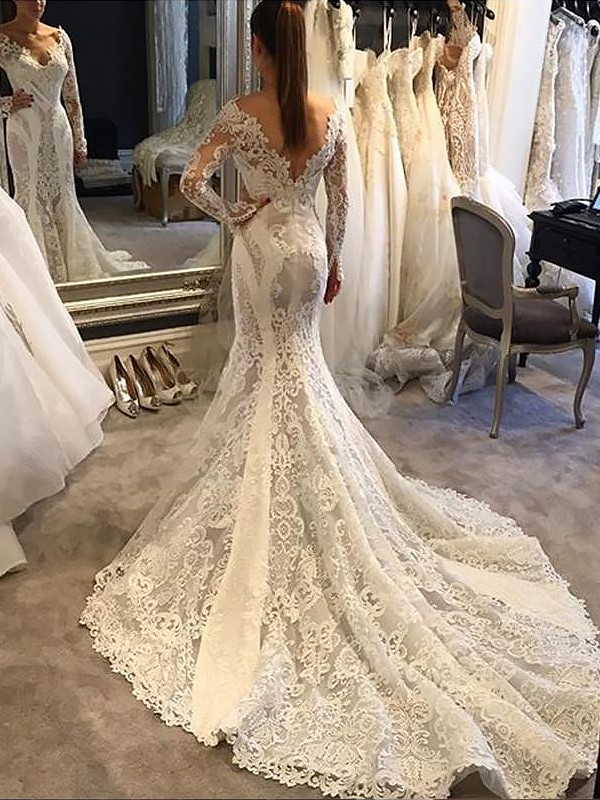 Trumpet/Mermaid V-neck Long Sleeves Court Train Lace Wedding Dresses