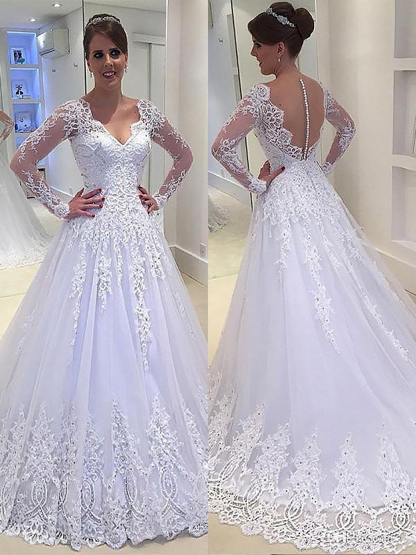 A-Line/Princess Long Sleeves Applique V-neck Court Train Tulle Wedding Dresses
