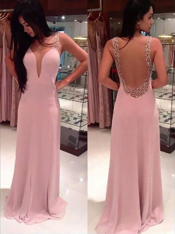 A-Line Straps Sleeveless Chiffon With Beading Floor-Length Dresses