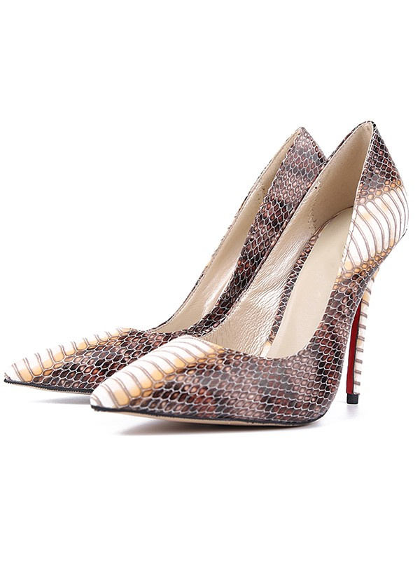 Women's Snake Print PU Closed Toe Stiletto Heel Evening Shoes