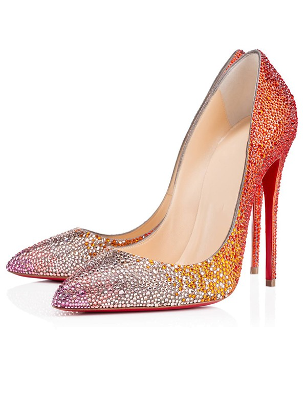Women's Sparkling Glitter Peep Toe with Rhinestone Stiletto Heel Party Shoes