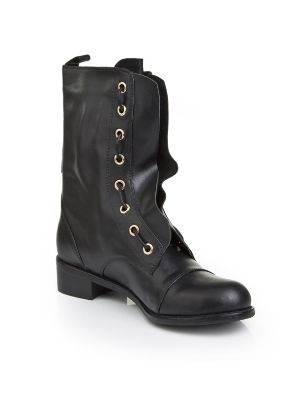 Women's Cattlehide Leather With Lace-up Kitten Heel Mid-Calf Boots