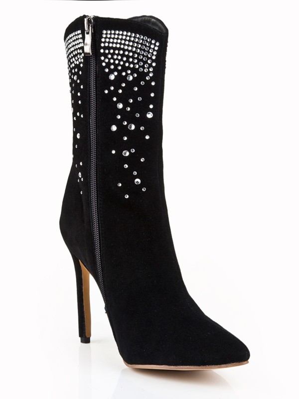 Women's Suede Stiletto Heel Closed Toe With Rhinestone Mid-Calf Boots