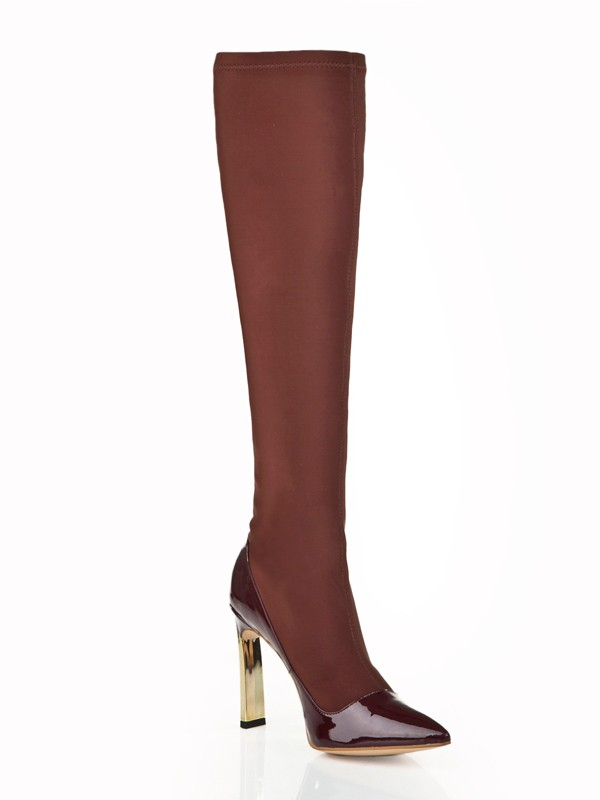 Women's Stiletto Heel Elastic Leather With Rhinestone Knee High Boots