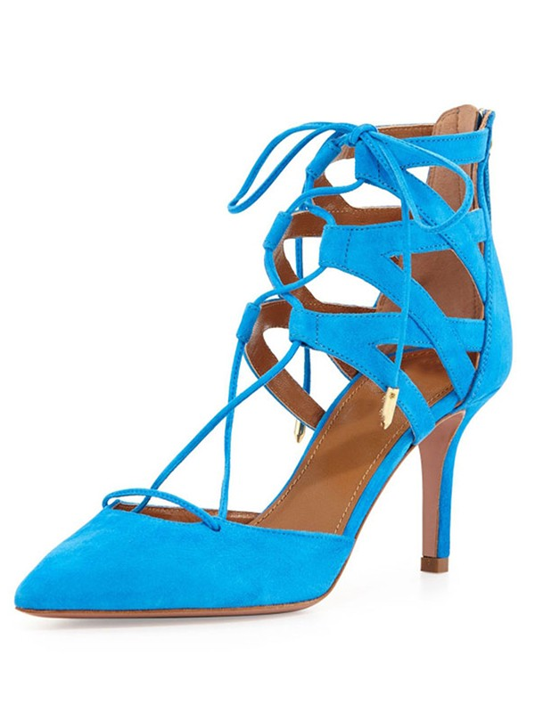 Women's Suede Stiletto Heel Closed Toe With Lace-up Sandal Party Shoes