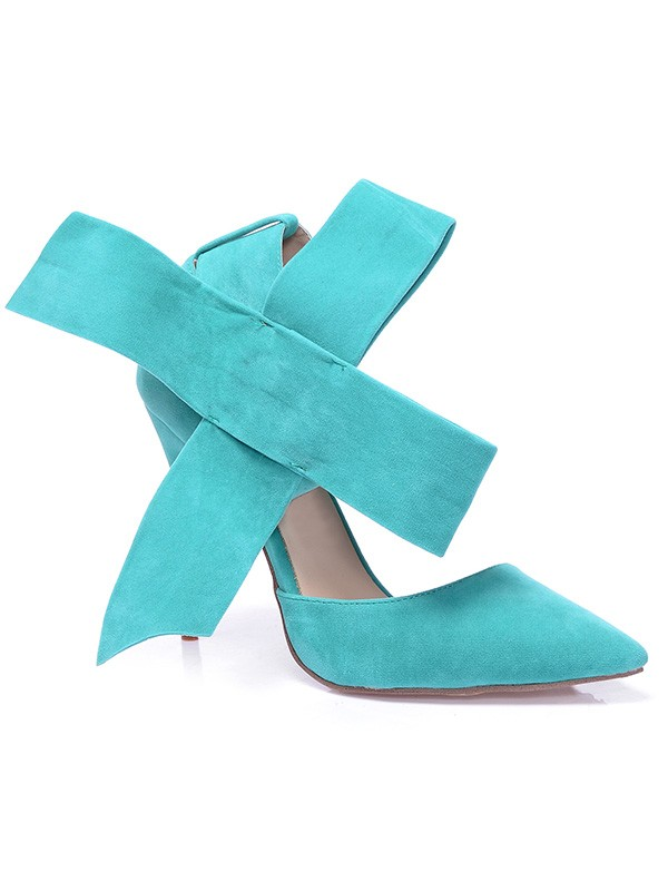 Women's Stiletto Heel Suede Closed Toe With Knot Party Shoes