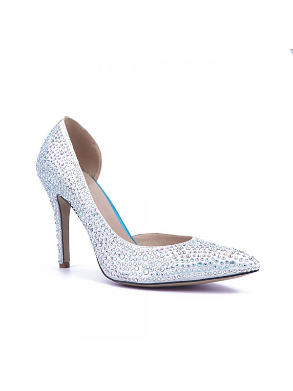 Women's Satin Closed Toe Stiletto Heel With Rhinestone Party Shoes