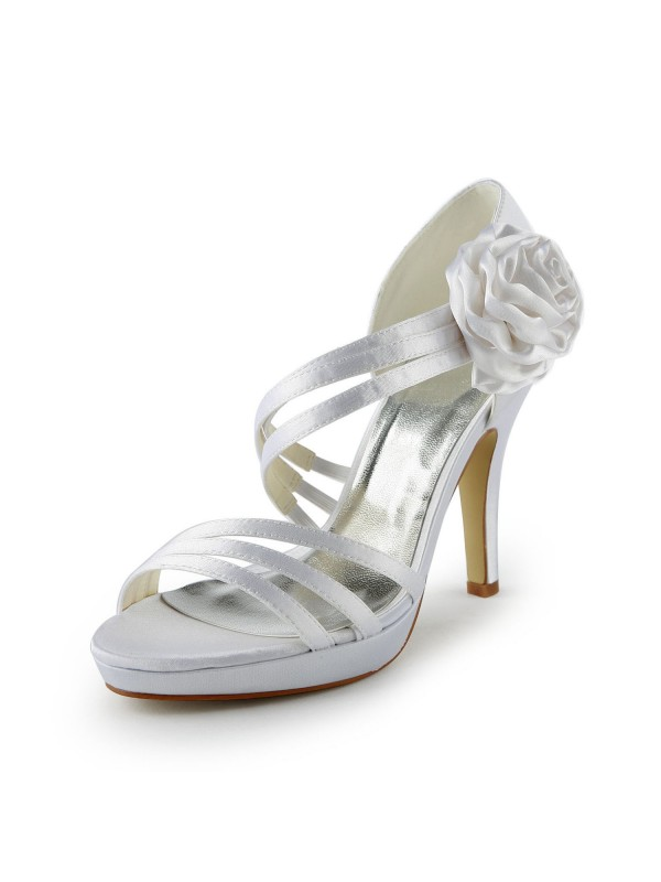 Women's Satin Stiletto Heel Platform Sandals Wedding Shoes With Flower