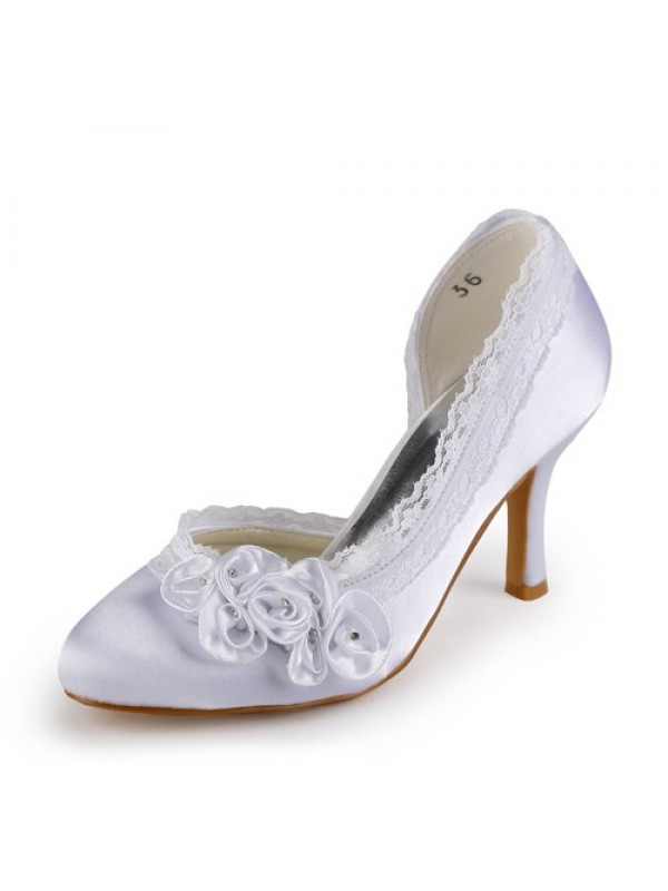 Women's Satin Stiletto Heel Closed Toe Wedding Shoes With Rhinestone