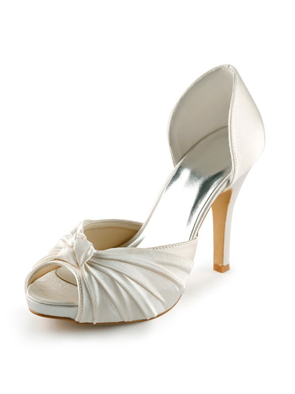 Women's Satin Stiletto Heel Peep Toe Platform Pumps Wedding Shoes With Bowknot