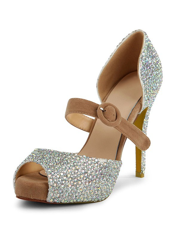 Women's Suede Peep Toe Stiletto Heel Platform With Rhinestone Shoes