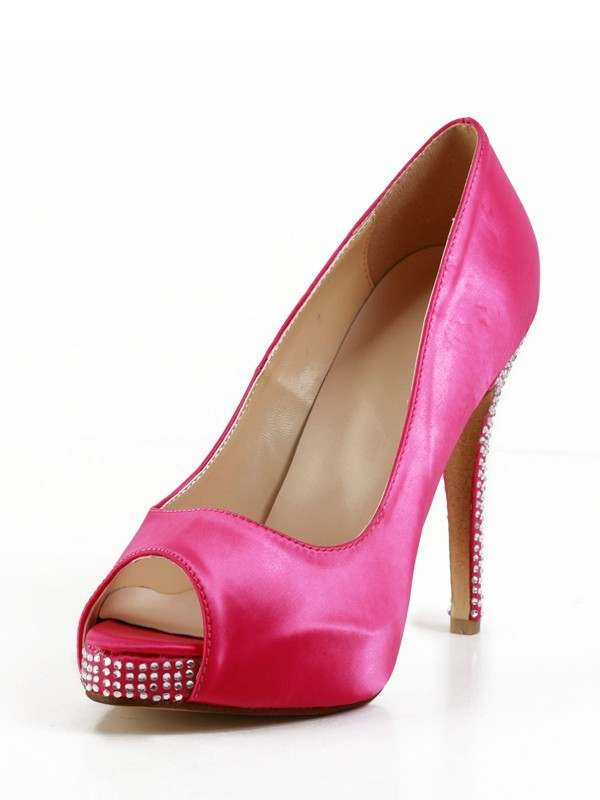 Women's Stiletto Heel Silk Peep Toe Platform With Rhinestone Shoes
