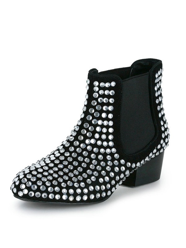 Women's Suede Kitten Heel Closed Toe With Rhinestone Bootie