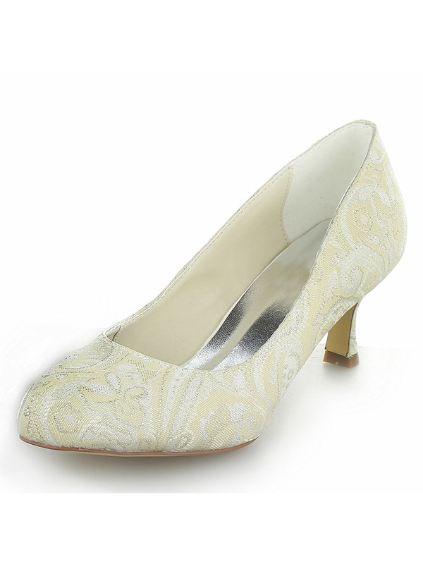 Women's Cone Heel Satin Closed Toe Shoes