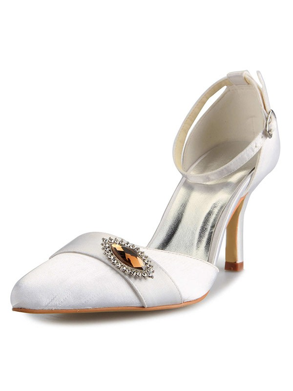 Women's Mary Jane Satin Stiletto Heel Closed Toe With Rhinestone Wedding Shoes