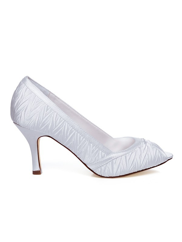 Women's Satin Peep Toe Spool Heel Wedding Shoes