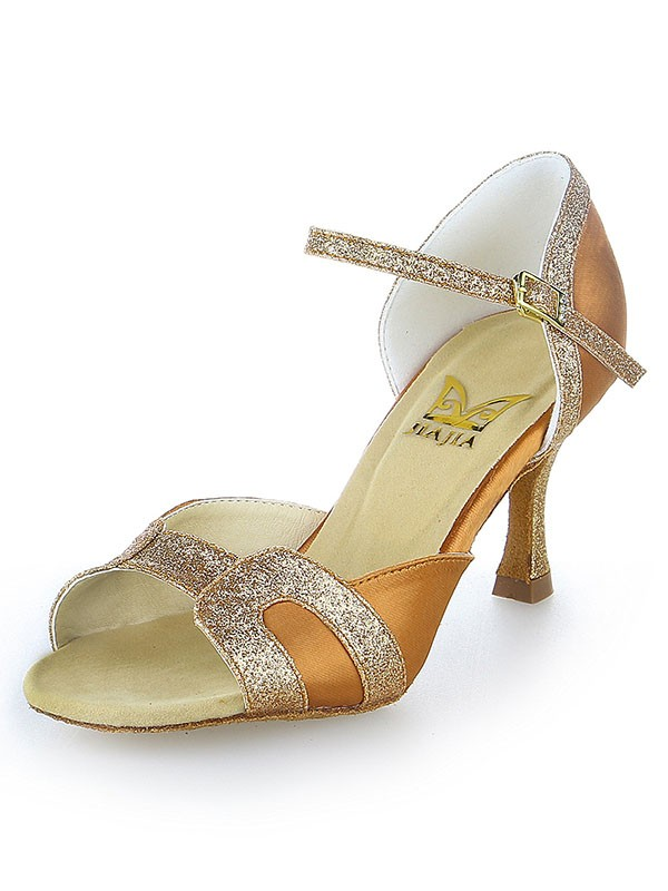 Women's Stiletto Heel Satin Peep Toe With Sparkling Glitter Dance Shoes