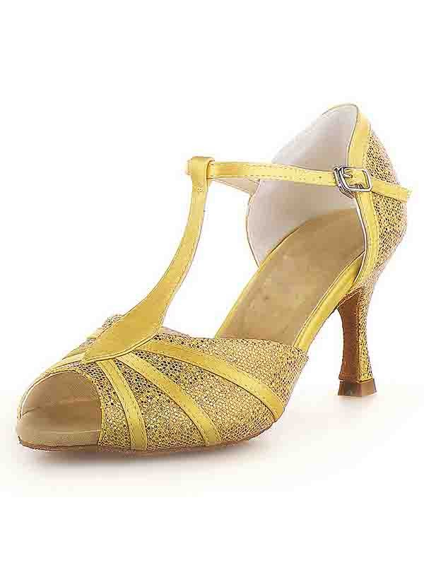 Women's Peep Toe Stiletto Heel Satin With Buckle Sparkling Glitter Dance Shoes