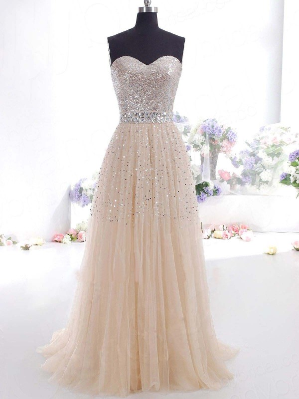 Sweetheart A-Line/Princess Tulle Sleeveless Sweep/Brush Train Dresses