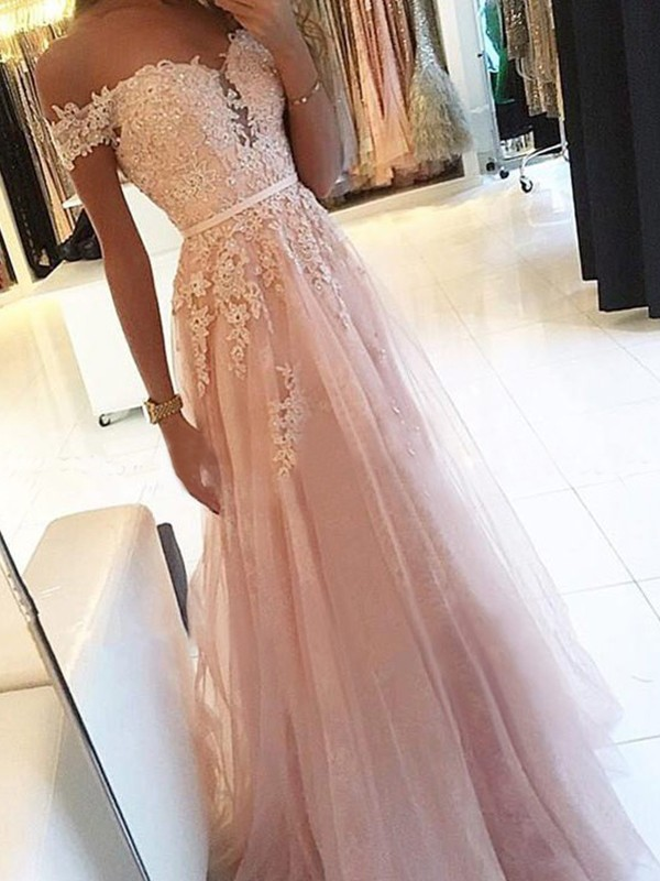 A-Line/Princess Off-the-Shoulder Floor-Length Applique Sleeveless Tulle Dresses