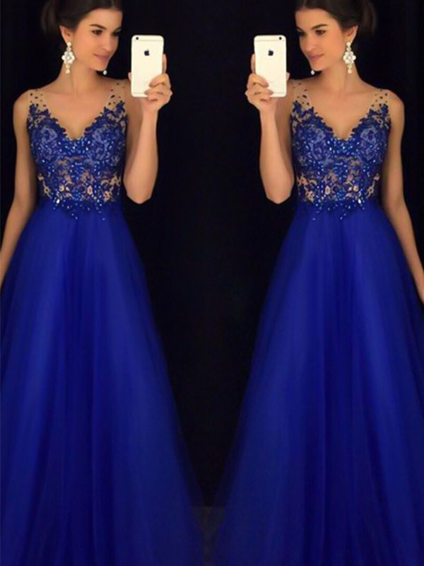 A-Line/Princess Sleeveless V-neck Floor-Length Tulle Applique Dresses