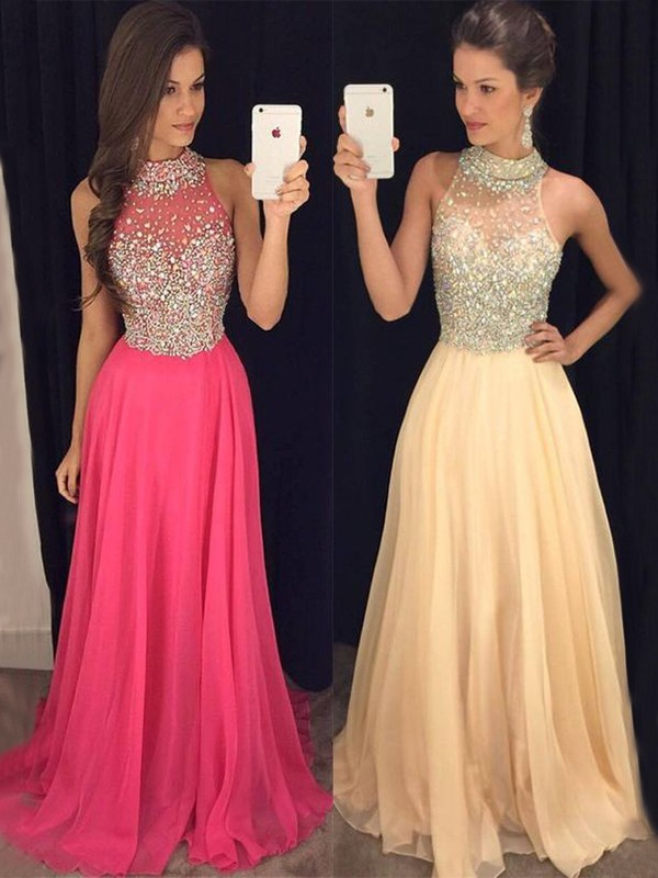 A-Line/Princess Halter Sleeveless Floor-Length Chiffon Beading Dresses