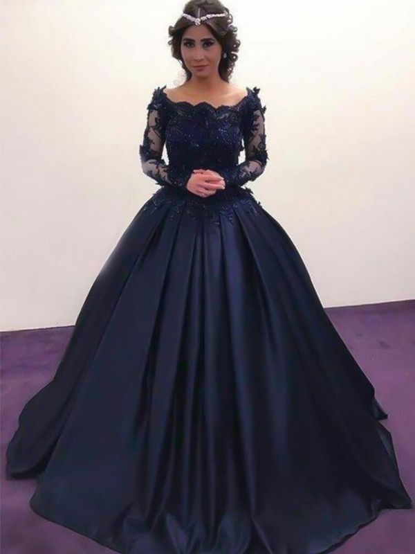 Ball Gown Bateau Long Sleeves Applique Satin Sweep/Brush Train Dresses