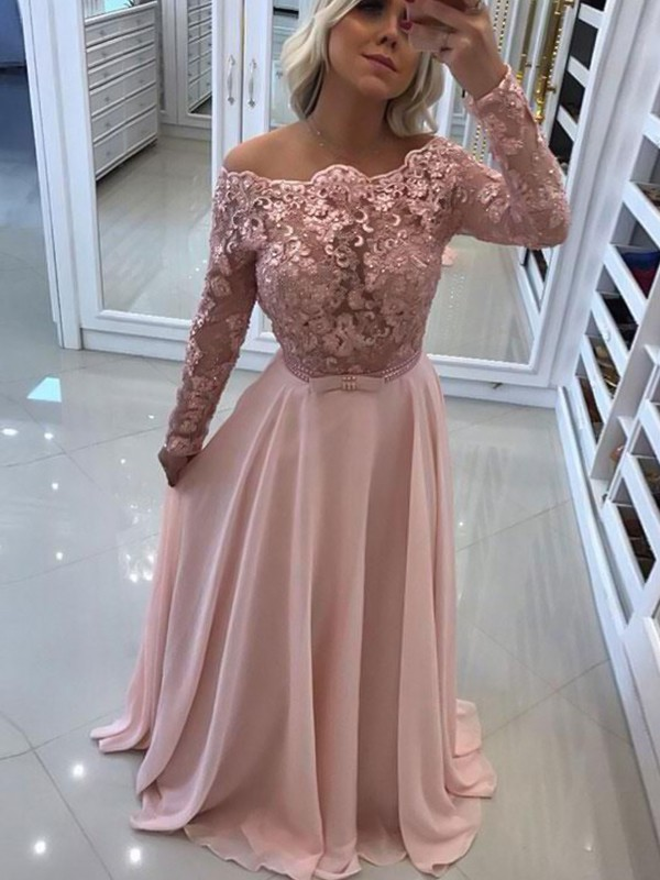 A-Line/Princess Bateau Floor-Length Chiffon Long Sleeves Dresses